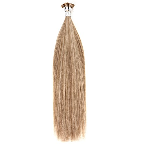 """Price comparison product image Ty.Hermenlisa 18"""" Silky Straight Micro Rings Hair Extensions 100% Real Virgin Remy Human Hair Fusion Stick I Tip Extensions, 50strands/Pack, 30g, Light Brown Blonde(#P18.22)"""