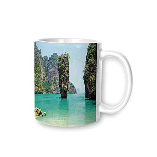 Ocean Island Decor Practical Mark Cup,James Bond Stone Island Landscape in Tropical Beach Cruising Journey of Life Photo For Hold Water,Z(diameter)8.2G9.5