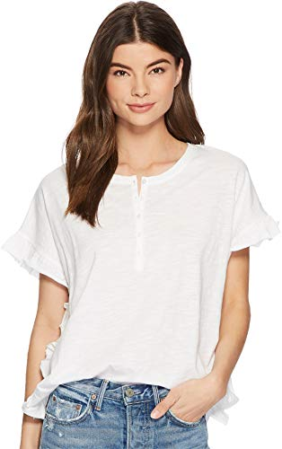 kensie Women's Cotton Slub Top KS3K3648 White Medium -