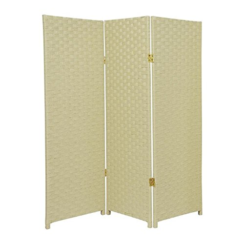 MD Group Room Divider Woven Fiber 4-ft Tall 3-Panel Cream Foldable Double Sided Lightweight by MD Group