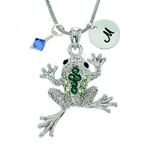 Sparkling Crystal Block Ring Chandelier: Amazon.com: Personalized Frog Dark Green Pendant Sparkling