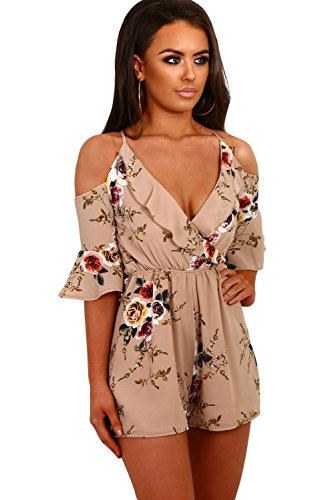 Women's Sexy Navy Multi Floral Ruffle Wrap Cold Shoulder Bodysuit Playsuit V-neck Spaghetti straps One piece Romper Apricot (Cold Shoulder Romper)