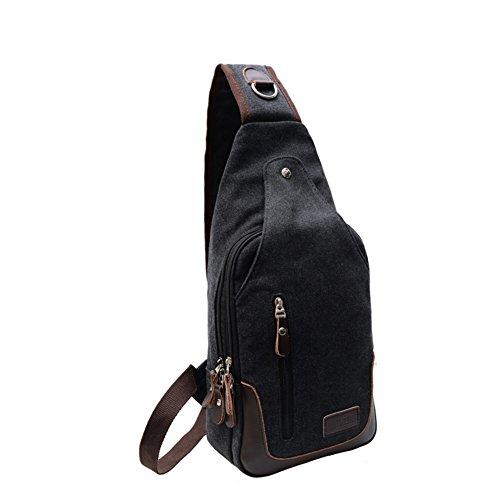 Bolsa del pecho de los hombres,solo hombro /bandolera/ocio/bolso de la lona,deportes al aire libre/bolsa de viaje-negro negro