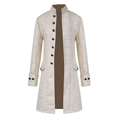 haoricu Mens Vintage Jacket Goth Long Steampunk Formal Gothic Victorian Frock Coat Costume for Halloween White