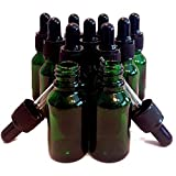 BEKCo 11 Pack 15ml Thick Dark Green Glass (not Painted) Dropper Bottles with Glass Dropper. Free Mini Filling Funnels.