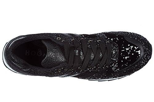 Hogan scarpe sneakers donna in pelle nuove r261 nero