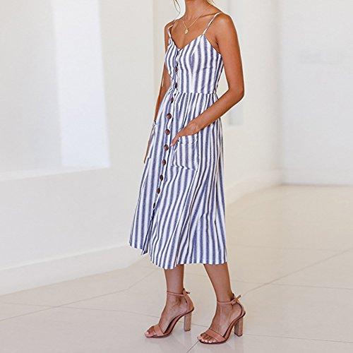 3286c387cc3e7 Vestiti Gemini Estate Abito Senza Vestito Small Printing Mall® Spalla  Stripe Spiaggia Dress Blue Principessa Maniche Donne ...