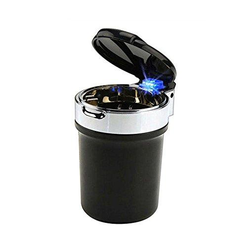 niceEshop(TM) Universal Car Creative LED Cigarette Ash Holder Ashtray, Black and Silver