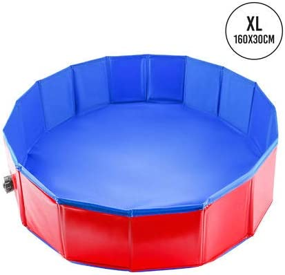 Foldable Dog Paddling Pool Large 160x30cm Sturdy High Quality Pvc With Reinforced Oxford Walls Pet Swimming Pool Bath Tub Or Ball Pit Ideal For Pets Puppy Cats Kids Pool