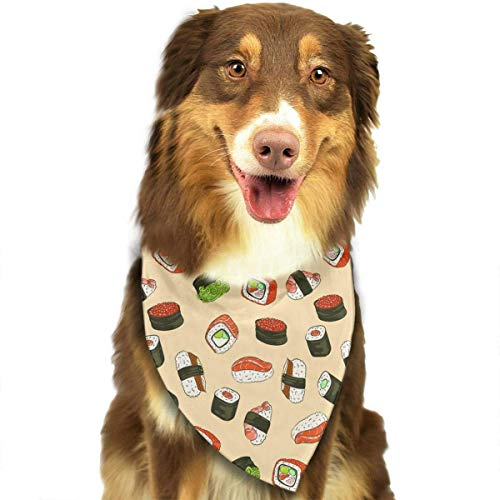 fengyijiating Sushi with Red Caviar Pattern Pet Dog Bandana Triangle Bibs Scarf - Easy to Tie On Your Dogs & Cats Pets Animals - Comfortable and Stylish Pet Accessories