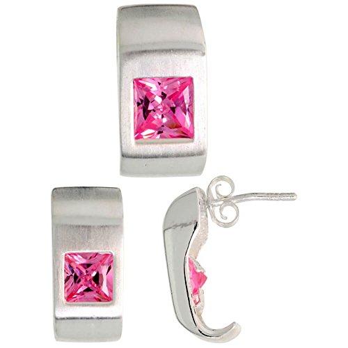 En argent sterling 925mat boucles d'oreilles Femme Fancy (16mm de haut) et pendentif diapositive (17mm de haut), W/Coupe Princesse Rose tourmaline-colored CZ pierres