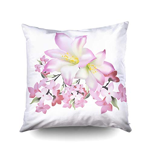 - KIOAO Pillowcase Standard 16X16Inches Square for Cushion Home Decorative Tender Pattern Rose Buds Grey Abstract Sprigs Peachy Background Floral Pillow Covers Printed with Both Sides of Cotton