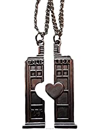 Doctor Who 2 Split TARDIS POLICE BOX BFF Heart NECKLACES
