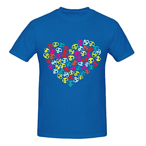 Heart Shape Made of Small Colorful Funny Skulls Summer T Shirts For Men O Neck (Cute Cookie Ideas For Halloween)
