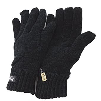 FLOSO® Ladies/Womens Thinsulate Chenille Thermal Gloves (3M 40g) (One Size) (Black)