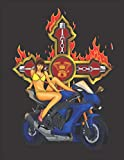 """2020 Motorcycle Calendar and Planner For Bikers: Hot Biker Chick Motorcycle Cross Flames Pin Up Girl 