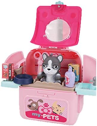 FFFFF Pet Care Play Set for Kids, Pet Cat Carrier Backpack Toy, Pet Veterinarian Playset with Backpack Pretend Play Toys for Toddlers, Educational Gifts Medical Role Play Set for Girls Boys