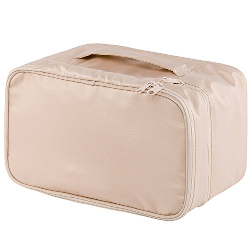 Travel Underwear Organizer Bag, JJ POWER Lightweight Double Layer Large Capacity Cosmetic Bag- Multiple Compartments and Pockets (Cream)