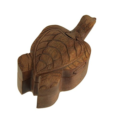 Kingmax Wood Decorative Boxes Hand Carved Wooden Sea Turtle Trinket Puzzle Box 5.5 X 2.5 X 3 Inches Brown (Keepsake Boxes Turtles 3)