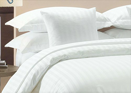 Zipper Closure 3pc Duver Cover Set Super King (108'' X 98'') Size With Corner Ties,100% Egyptian Cotton 1000 Thread Count (Super King Size White Stripe) ()