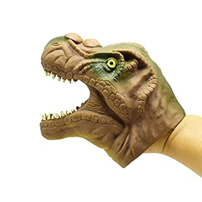 NUOBESTY TPR Soft Realistic Tyrannosaurus Hand Puppet Role Play Toy Cute Cartoon Hand Puppet Tricky Toy for Party Prank Gifts: Toys & Games