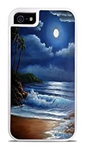 Full Moon Over Ocean White 2-in-1 Protective Case with Silicone Insert for Apple iPhone 5 / 5S by ruishername