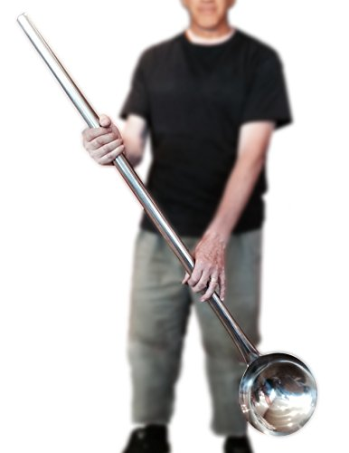 Giant Oversized Ladle, Large Pot Spoon Almost 4 Feet Long, Big Spoon, Industrial Soup Kitchen Spoon, Cucharon Grande, Extra Large Laddle, Big Stainless Steel Stock Pot Spoon Plus Chuys Recipe (Big Ladle)