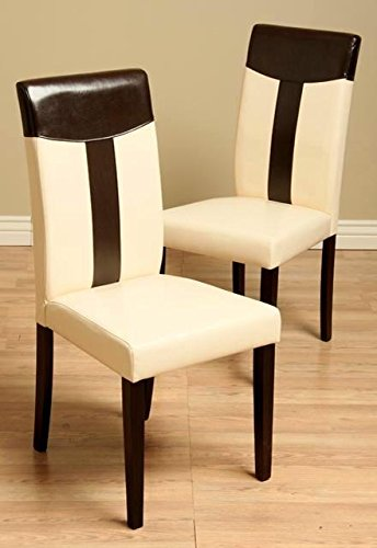 Warehouse of Tiffany Leather Oak/ Black Dining Chair (Set of 2)