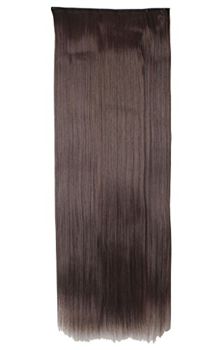26 Inches Long Straight Fashion 3/4 Full Head Clip in Hair Extensions Hairpieces Beauty Synthetic Wigs Women Hair Sexy Ladies Dress Party - Medium Brown