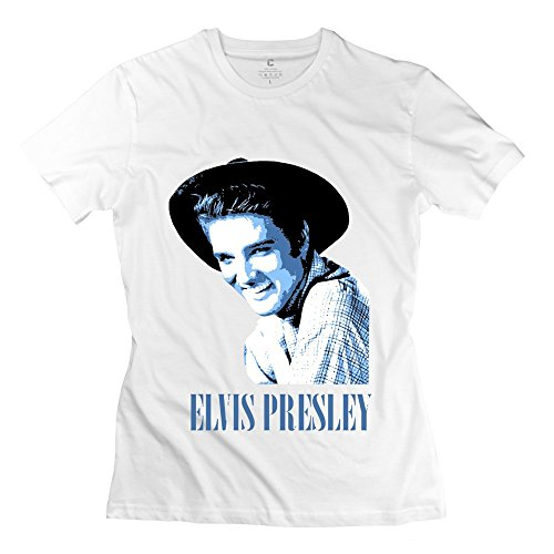 PTCY Women's Tee Customize Elvis Presley Grin Hat Picture S White