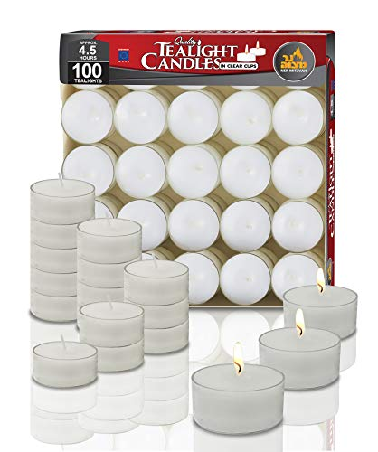 Ner Mitzvah Clear Cup Tea Light Candles - 100 Bulk Pack - White Unscented Travel, Centerpiece, Decorative Candle - 4.5 Hour Burn Time