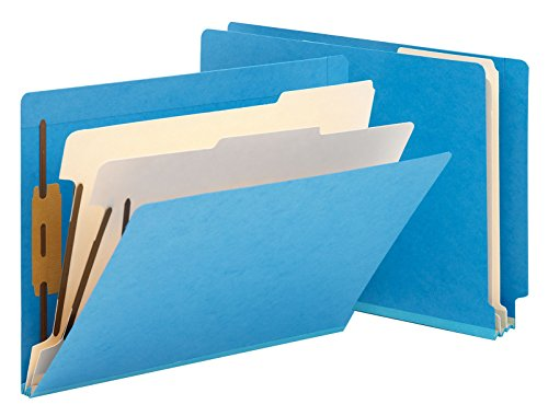 "Smead End Tab Classification File Folder, 2 Divider, 2"" Expansion, Letter Size, Blue, 10 per Box (26836)"