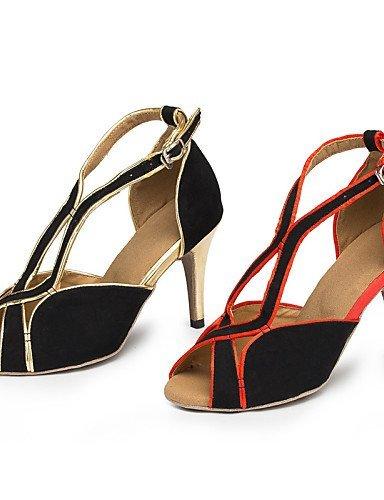 ShangYi Samba Flocage Rouge danse gold black Personnalisé Talon de and Or Salsa Latine Chaussures Personnalisables rPSgqrw
