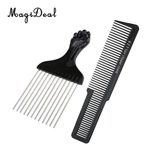 1 piece Pro Salon Styling Tools Stainless Steel Afro Hair Pick Comb Brush + Salon Anti-static Hairdressing Clipper Comb