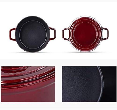 LIUSHI Plat de cocotte Cramoisi épaissir la Vaisselle binaurale de Fonte 3.5L Haute capacité, revêtement en émail Dur Rouge