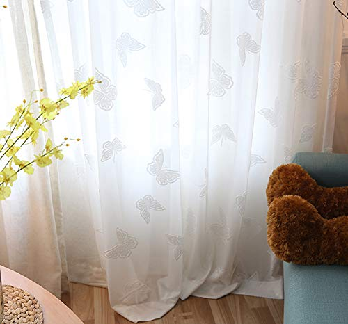 Aside Bside Rod Pocket Top Modern Sheer Tulle Butterfly Pattern Window Curtains for Living Room(1 Panel, W 50 x L 72 inch, White)