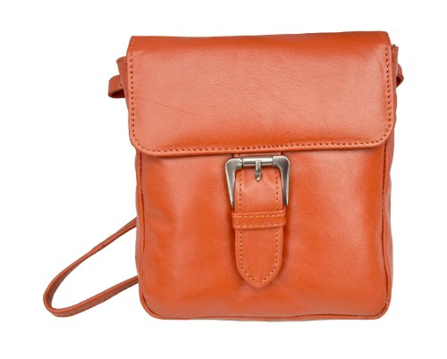 Prime Hide Victoria Ladies Small Leather Buckle Crossbody Bag Orange