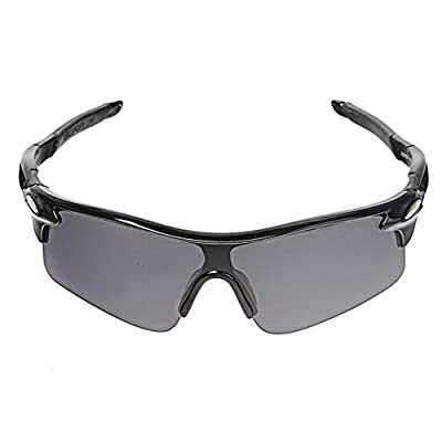 Protective Outdoor Sport Sunglasses UV 400 for Men + Women - Best for Golf - Running - Cycling - Fishing - Driving - 100% UV Protection - Eyewear Model 320D Black