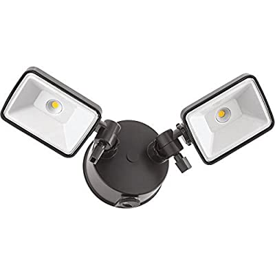 Lithonia Lighting Bronze Outdoor Integrated LED Square Wall Mount Flood Light with Dusk to Dawn Photocell