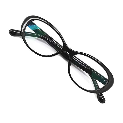 Reading Glasses Blue Light Blocking - Oval Computer Eyeglasses Frames for Women (Gloss Black, 3.00)]()