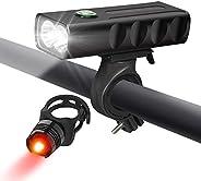 Bike Light, XBDZ Bicycle Light Set USB Rechargeable Headlight, Tail Lights IPX5 Waterproof for Kids Men Women