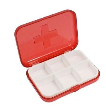DealMux Cruz Marcado 6 Quartos Medicina Pill armazenamento caso caixa clara vermelhos