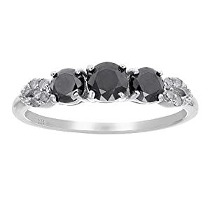 1 CT Black Diamond Ring With Pear Design Sterling Silver In Size 6