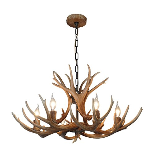 Antler Lighting (Shengdi Deer Horn E12 BUlb 6-Light Iron Resin Industrial Retro Droplight Pendant lamp Ceiling lamp Ceiling light Chandelier Lighting Fixture for Restaurant Balcony Bedroom Coffee 1017C-6)