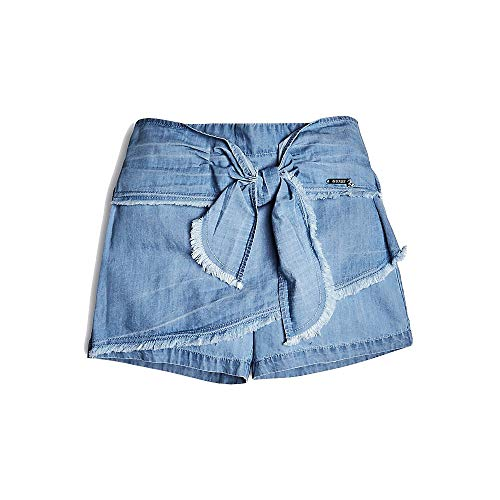 Girls Guess Kids Denim - GUESS Girls' Big TIE Front Denim Skort, Very Very Light Blue wash Fringes, 8