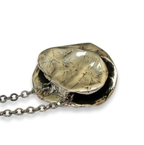 Turtle Shell Pendant Necklace Bronze or Silver Plated White Bronze Hung on a Matching 24 Inch Chain