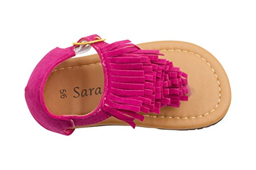 Micro Suede Sandals (Sara Z Toddler Girl Micro suede Fringe T Strap Thong Sandal 5/6 Fuchsia)