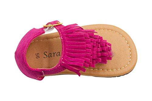 Sara Z Toddler Girl Micro suede Fringe T Strap Thong Sandal 9/10 Fuchsia