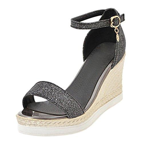 YE Wedges Sandaletten Knöchelriemchen High Heels Plateau Sandalen mit Keilabsatz und Blumen Damen Sommer Schuhe AEZDIKT
