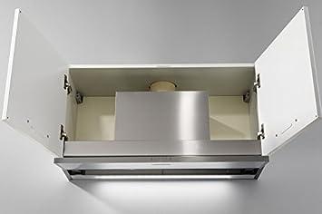 Galvamet/SLIVER 90/A/EEK - Extractor de humos (sistema patentado de parada de condensación de agua para cocinas de inducción, para armarios de pared de 90 cm, barra ECO LED, 100% fabricado en Italia):